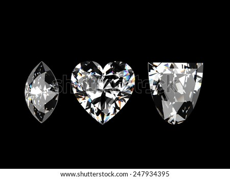I love you. Heart shape gemstone. Collections of jewelry gems - stock photo