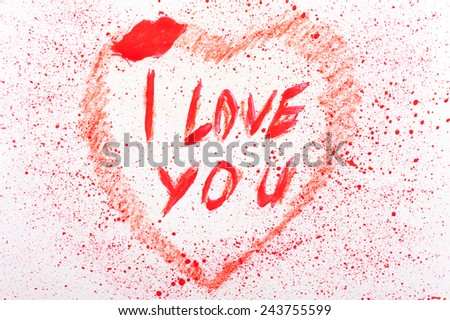 I love you heart stained, romantic love note of red letters and splash on white paper, grunge valentine day blobs abstract, sweetheart affection painted background in horizontal orientation, nobody. - stock photo