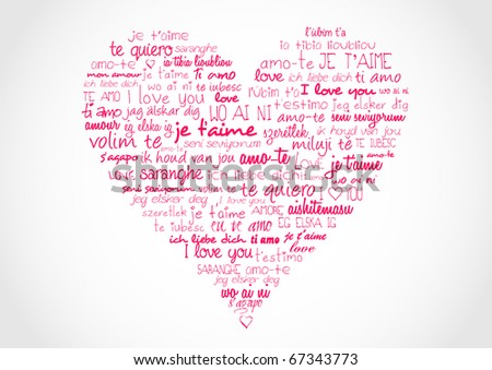 I love you in different languages - stock photo