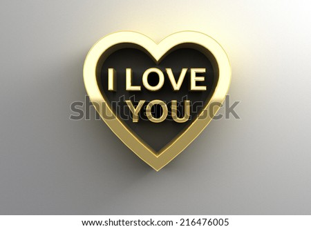 I Love You in heart - gold 3D quality render on the wall background with soft shadow. - stock photo