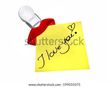 I love you note message sticky sticker red lips isolated on white background - stock photo