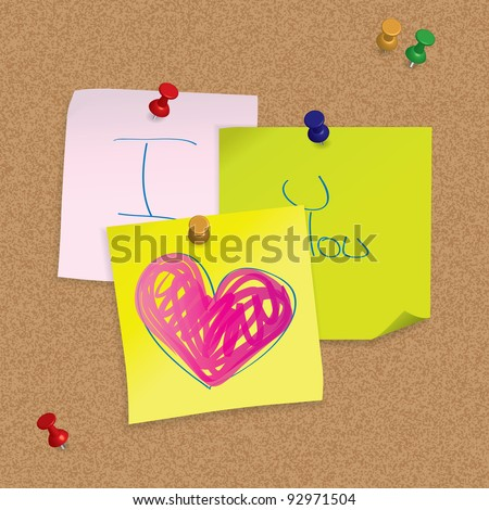 I Love You - original valentine card - hand written post-it note on cork board - raster version of version of vector ID 92720953 - stock photo
