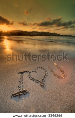 I love you sign on a sand  -   tropical beach - vacation - stock photo
