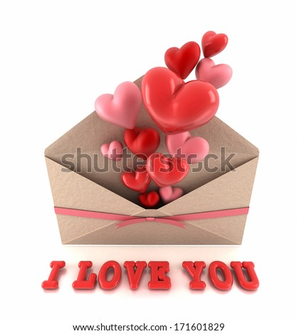 I love you text and envelope exploding hearts. - stock photo