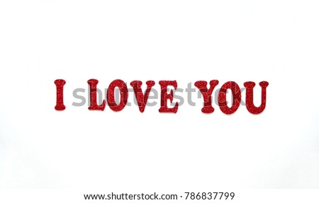 I LOVE YOU text red color on white background