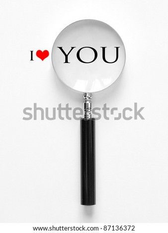 i love you with magnifying glass - stock photo