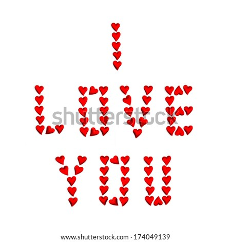 I Love You words formed by small hearts. Valentine Day design - stock photo