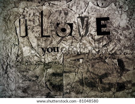 i love you written in a grunge papers background - stock photo