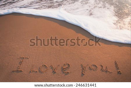 I Love You Written in the Sand on Valentine's Day . - stock photo