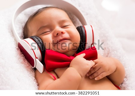 I'm happy, listen music - stock photo