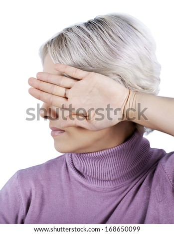 I'm not looking. The woman turned away closes eyes - stock photo