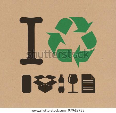 I Recycle cardboard - stock photo