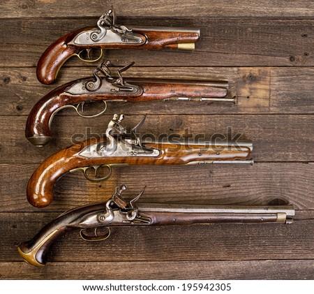 I8th Century flintlock pistols. - stock photo