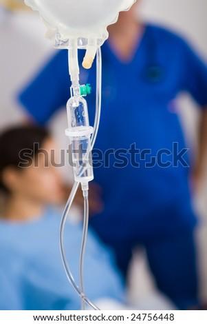 I.V drips in hospital ward - stock photo