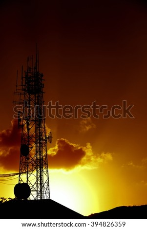 I want to present photo shoot Glossy black antenna communication contract . And Accessories During the sunset