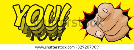 I want you vector hand pointing icon isolated on white background - stock photo
