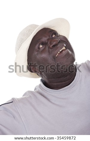 I wish you happy retirement, senior African american man with white hat - stock photo