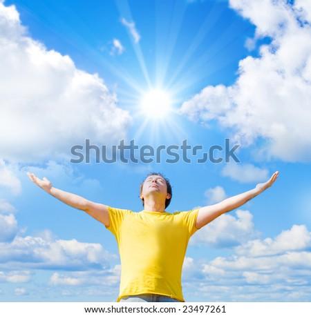 I worship the sun - stock photo