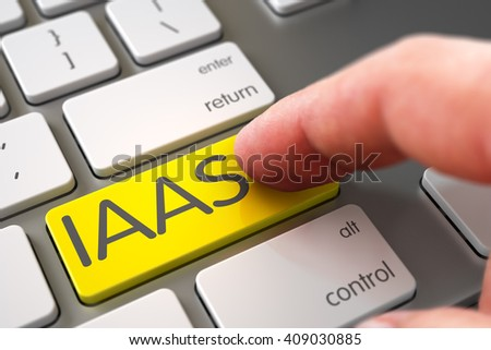 IAAS Concept - Computer Keyboard with Key. Computer User Presses IAAS Yellow Keypad. Hand Finger Press IAAS Keypad. Man Finger Pushing IAAS Yellow Keypad on Modernized Keyboard. 3D Render. - stock photo