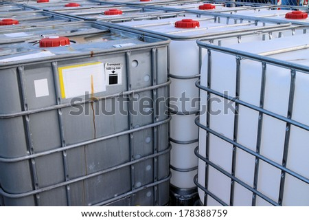 IBC Container close-up view of chemical tanks  - stock photo