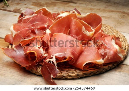 iberic ham sliced called in spain jamon ibérico  - stock photo