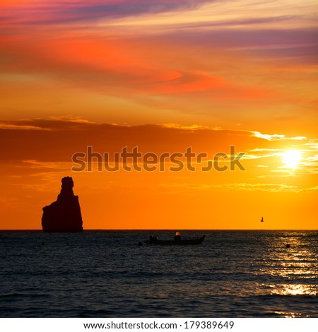 Ibiza Cala Benirras sunset beach in san Juan at Balearic Islands Spain - stock photo