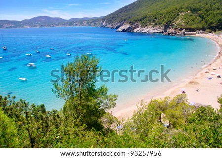 Ibiza Cala de Sant Vicent caleta de san vicente beach turquoise water - stock photo