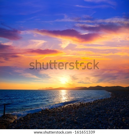 Ibiza Cap des Falco beach sunset and Es Vedra in Sant Josep Balearic Islands - stock photo