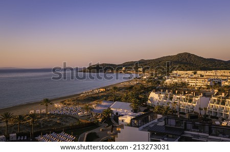 Ibiza Eivissa, sunrise over  Playa d'en Bossa Beach ,Spain - stock photo