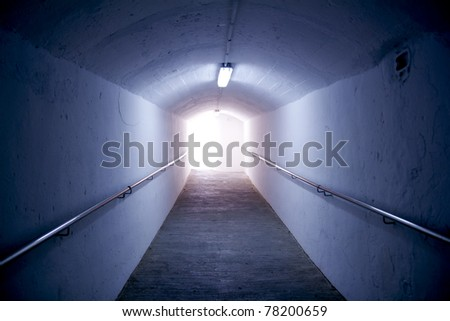 Ibiza island tunnel way up to the castle light effect Balearic Island - stock photo