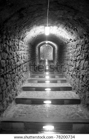 Ibiza island tunnel way up to the castle light effect Balearic Island