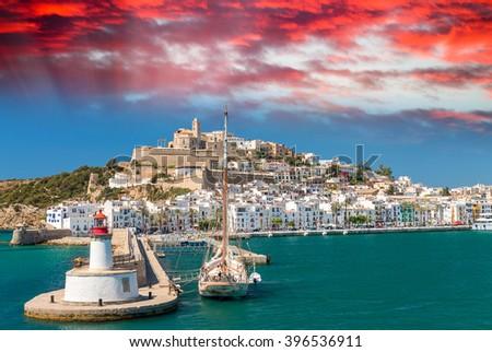 Ibiza Port on a beautiful day. Balearic Islands. - stock photo