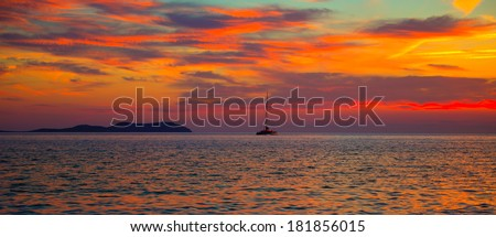 Ibiza san Antonio Abad de Portmany sunset in Balearic islands of spain - stock photo