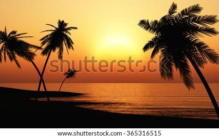 Ibiza Sunset chill out Beach  - stock photo