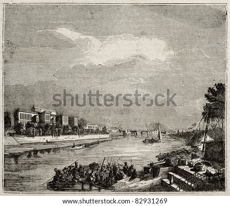 Ibrahim Pacha Palace old view from the Nile, Cairo. By unidentified author, published on Magasin Pittoresque, Paris, 1840 - stock photo