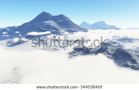 Ice age. Icy wasteland of the clouds in the sky, 3D render - stock photo