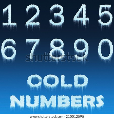 Ice Alphabet Numbers isolated on blue background - stock photo