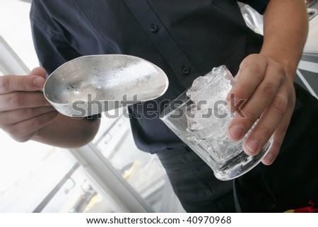 ice and barman - stock photo