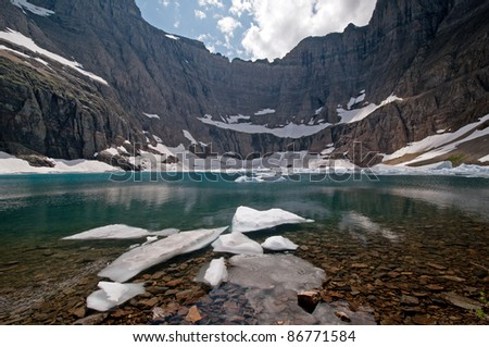 Ice and water in Iceberg Lake in Glacier National Park
