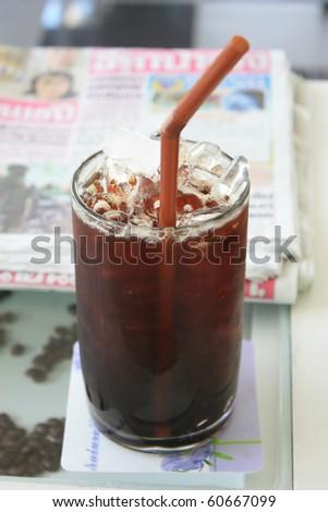 Ice black coffee - stock photo