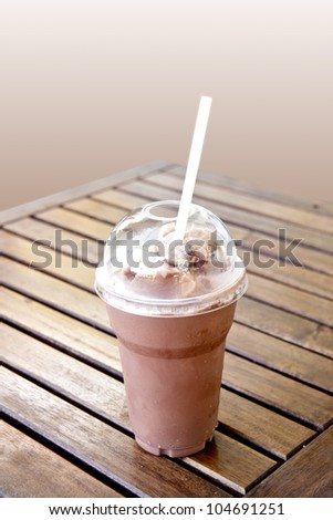 ice blended chocolate on the table - stock photo