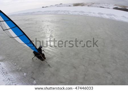 Ice-Blokart Sailor - stock photo