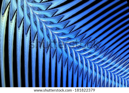 Ice Blue abstract ripple / fern design on black background - stock photo