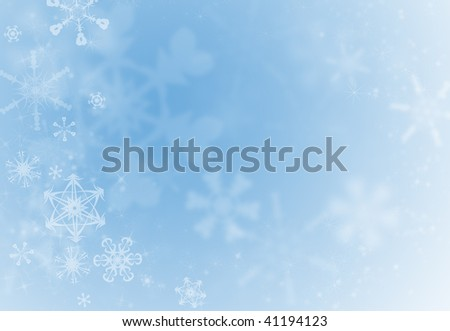 Ice blue holiday decoration background with snowflakes ans sparkles - stock photo