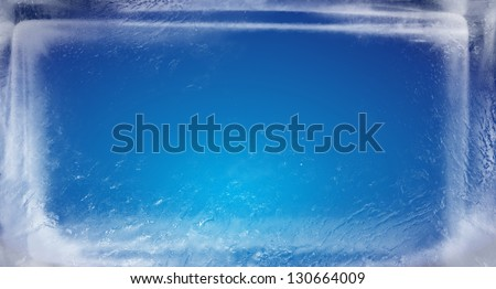 ice brick with blue background - stock photo