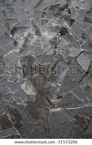 Ice broken up on a chilly winter day - stock photo