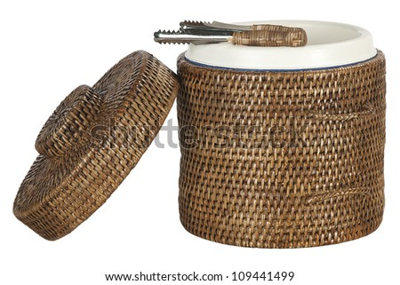 ice bucket covered in bamboo, isolated on white background - stock photo