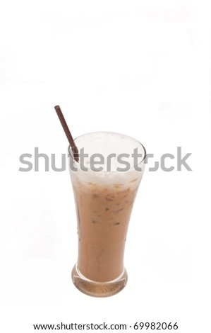 ice capuccino coffee as white isolate background - stock photo