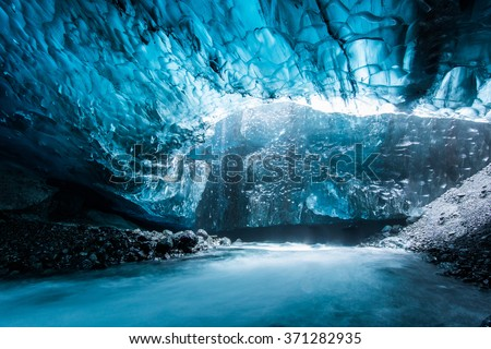 Ice cave in Iceland deep tunnel