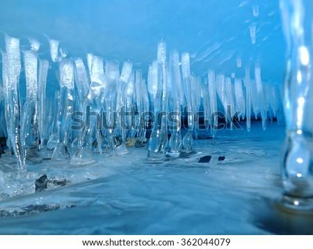 Ice cave stalactite - stock photo